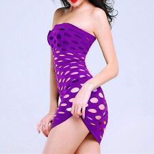 Mini vestido púrpura Lencería Sexy para Mujer FISHNET hueco ropa de dormir S 8-12 Stripper