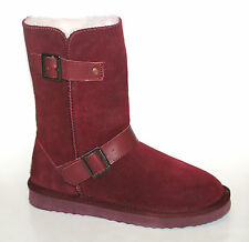 Snow Paw Women's UK 4 Red Suede Leather Merino Wool Lined Buckle Winter Boots