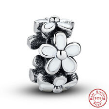 European S925 Sterling Silver Darling Daisies Spacer Charm Beads fit Bracelet