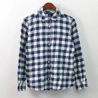 Lands End Blue Plaid Flannel Shirt Button Front Long Sleeve Womens Medium M