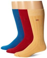Cutter & Buck Men Casual Rib Crew Socks Cotton Bland  Assorted Mid Calf Red Blue