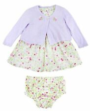 Baby Girls Green Floral Dress And Lilac Bolero Outfit
