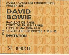RARE / TICKET BILLET DE CONCERT - DAVID BOWIE : LIVE A PARIS ( FRANCE ) 1976