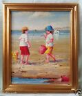 Oil Painting on Canvas w/ Gold Antique Style Frame- Kids Playing In Sand 26x22""