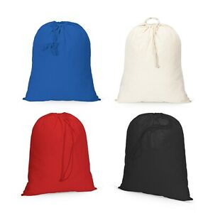IMFAA Plain 100% Cotton Sack Drawstring Laundry Storage Bags in 4-Colours Lot