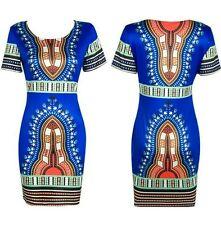 Dashiki stretch ethnic bohemian summer bodycon african print dress -size M