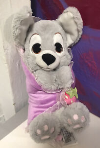 Disney Parks Baby Scamp Puppy Lady and Tramp in Blanket Plush Doll