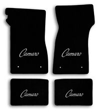 1967-1969 Chevrolet Camaro 4pc Black Carpet Floor Mats with Silver Camaro Logo