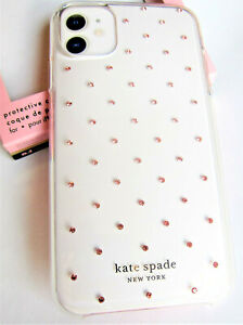 kate spade Protective Clear Case iPhone 11 PIN DOT PINK Gems Pearl New