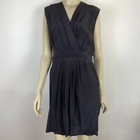 Witchery Women's Shift Deep V Neck Knee Length Silk Black Dress Size 12