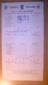 1949 Cricket Scorecards MCC v NEW ZEALANDERS at Lords 21 23 24 May 3 day Match