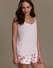 NEW M&S Emma Bridgewater Pink Camisole Floral Rose Shorts Pyjamas UK 16 EUR 44