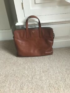 Fossil tan leather work bag/laptop bag