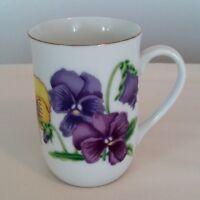 Otagiri Japan Porcelain Cup Multi Color White Floral Cup-Mug Gold Trim