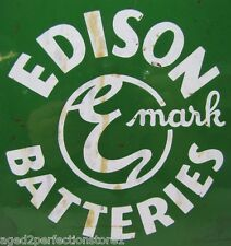 Original Edison Emark Batteries Porcelain Sign 1930-40s era auto truck gas oil