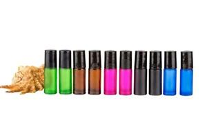 Colored Glass Bottles 10 x 5ml  Stainless Steel Roller Essential OilAromatherapy