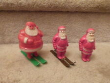 3 Vintage Christmas Santa Decorations Hard Plastic Candy Container Celluloud Ski