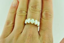 14k Solid Yellow gold 5  five stone Ladies Australian  Opal ring  mothers ring