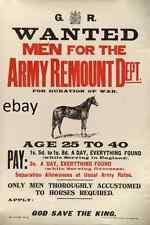 WW1 RECRUITING POSTER ARMY REMOUNT DEPT HORSES NEW A4 PRINT WAR HORSES