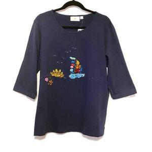 Quacker Factory T-Shirt A50731 T-Shirt Patriotic Summer Theme 3/4 Sleeve Size La