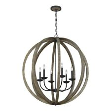 Feiss Allier 6 Light Pendant Chandelier in Oak Wood/Forged Iron - F3186-6WOW-AF