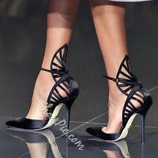 Black Satin Dramatic Cut Out Stiletto Heels UK5 EU38 BRAND NEW
