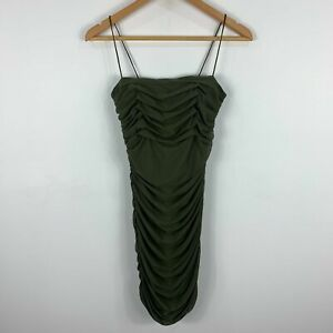 Princess Polly Dress Size 8 Green Bodycon Sleeveless Ruched Zip Stretch 99.07