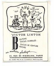 1940 / Publicité pour BOUTONS VICTOR LINDON / VETEMENTS / FRLD155