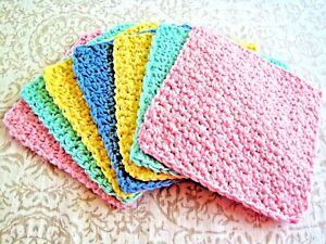 "7 Crochet  Dishcloths / Washcloths 100% Cotton - Handmade - 6 ""- Pastel"