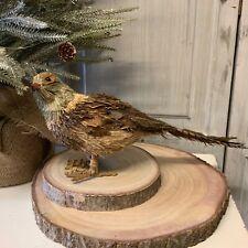 Bristle Feather Pheasant Bird Christmas Figurine Standing Christmas Decoration