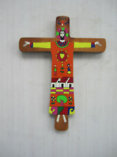"Beautiful handpainted wooden crucifix from El Salvador 10"" x 7 5/8"""