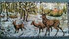 Vintage 1970s Deer Wall Tapestry Made in Turkey, Size Approx 18 X 30 inches