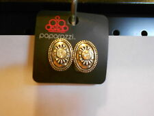 Paparazzi Clip-On Earrings (new) OVALS W/DESIGN & CLEAR CRYSTAL STONE