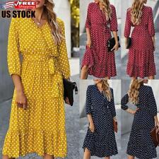 Women's Long Sleeve Casual Dress Ladies V Neck Polka Dot Party Midi Dresses