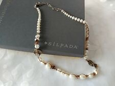 "SILPADA .925 Sterling Silver Pearl Brass Copper Necklace 18""-20"" Long N2232"