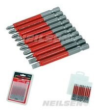 Ct4368 10Pc 70mm Non-Slip Magnetic Power Screwdriver Bit Set With Storage Box