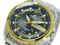 CASIO EDIFICE 100M EF131D EF-131D Gold Partial Ion Plated Free Ship !