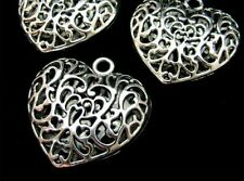 10 Pcs - Large Puffed Filigree Tibetan Silver Heart Pendant Necklace Gift S144