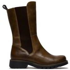 Fly London Relm Womens Ladies Tan Leather Biker Rigger Boots Size 4-8