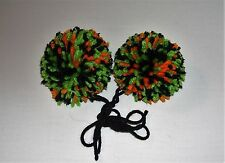 """Set of 2 Yarn Pom-Poms 2 1/2"""" for Accenting Gifts, Headbands, Clothing"""