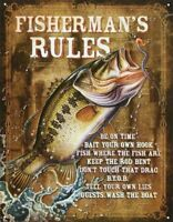 Fisherman Rules Fishing Hook Bait Rod Funny Cabin Boat Picture Metal Sign Gift