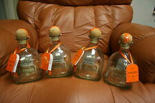 4 REPESADO PATRON TEQUILA EMPTY BOTTLES, 750 ML With TAGS and CORKS