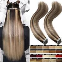 Clearance Russian Remy Tape In Real Human Hair Extensions Skin Weft 20 40 60 pcs