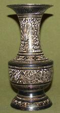 Vintage engraved brass vase