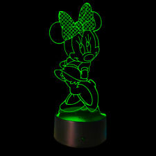 3D Illusion Night Light Minnie Mouse USB 7 Color Touch Change