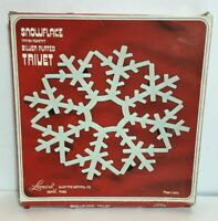 Vtg Leonard Silverplate Trivet Christmas Snowflake Footed Trivet NOS NIB RARE