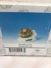 "Charming Tails Christmas Mouse Figurine Sledding Nut 87124 Resin 2.25"" x 3.5"""