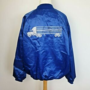 Vintage Cardinal Northland Truck Bomber Baseball Jacket USA Blue Satin XXL