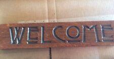 Mission Oak Sign Carved Welcome Craftsman Style