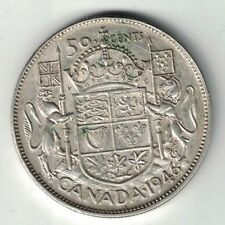 CANADA 1946 DESIGN 50 CENTS HALF DOLLAR KING GEORGE VI CANADIAN .800 SILVER COIN